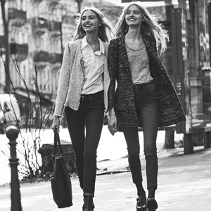 moodboard of twins at Paris Fashion Week walking in the street